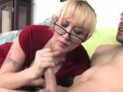 Blonde Spex Milf Jerking His Dick