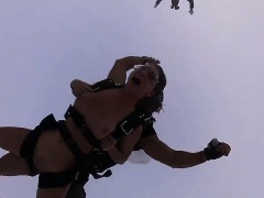 Naughty Badass Hot Babes Skydiving And Water Surfing Naked