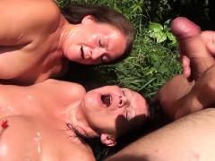 Two Horny Grannies Make A Random Guy Cum Before Taking