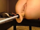 Young blonde anal fucking by machine squirt