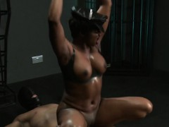 Masked Sub Fucks Ebony Mistress Interracial Dungeon