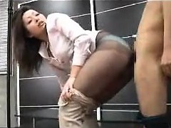 Rubbing Her Pantyhose Covered Booty