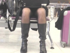 Upskirt While Waiting At The Airport