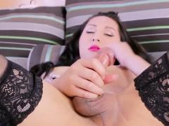 Asian Tgirl Masturbating In Lingerie Closeup