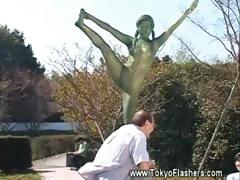 Naked Asian Girl Statue Comes Alive