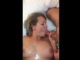 Amateur slut is gangbanged and covered in tons of cum