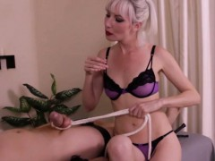 Dominating masseuse uses cbt on bound client