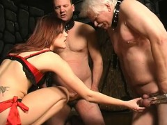 Mistress Ties Up Her Two Slaves And Uses A Whip On Their Nu