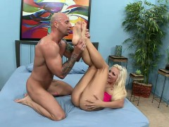 Dazzling Blonde Gets Banged Deep And Takes A Hot Load On Her Sexy Feet