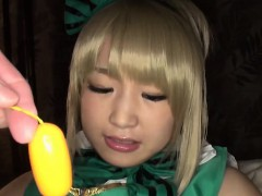 Cute Japanese cosplayer gets her pussy fucked and creampied