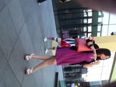 Sneaky Upskirt Shots Of A Girl In A Violet Dress Reveals Th