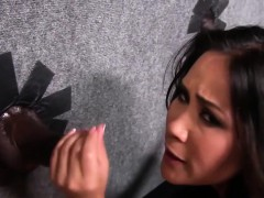 Jessica Bangkok sucks black cocks through Gloryhole