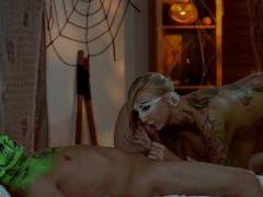 Halloween Massage with green oil and Sensual Sex