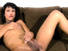 Short Hair Chick With Dick Strokes Small Cock And Big Balls