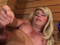 Some Jizz Is Shown By Blonde Shemale