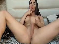 Busty Shemale Masturbating Her Big Hard Cock