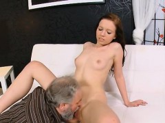 luscious young babe sucks old cock and gets twat licked