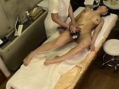 Pretty Babe Gets Her Sexy Body Greased Up And Her Hairy Twa