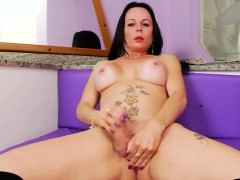 Big Boobs Mature Tranny Masturbates Her Big Fat Cock