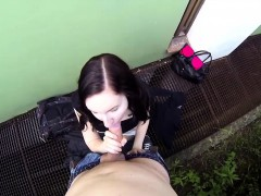 Fucking Glasses - Out-of-town gal fucked outside
