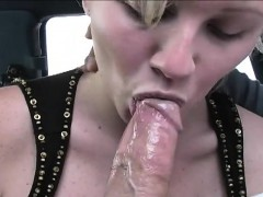 Dirty Blonde Exposes Her Big Hooters And Milks A Dick With Her Mouth