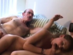 vintage amateur couple invites oldman in trio