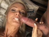 Cute blonde Nikki Sun takes two cocks