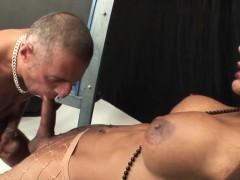 Ebony Shemale Gets Cummed