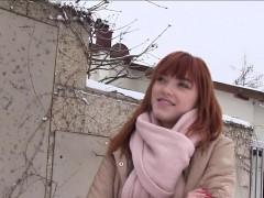 German Redhead Amateur Bangs In Car For Money