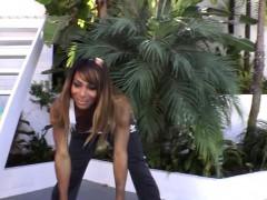 Ebony Tgirl Receives Blowjob After Workout
