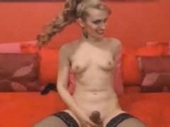 Petite Amateur Tranny Masturbating Her Cock