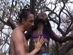African Slut Gets Mouthfucked By Dude Outdoors