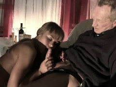 Very Old Man Fucks Very Young Girl And Cums On Tongue