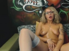 Amazing Nerdy Blonde Bunny In Stockings Masturbates