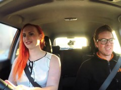 Fake Driving School Tattooed Redhead Craves A Big Cock