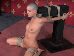 Bald Head Submissive Flogged In Over Arm Tie