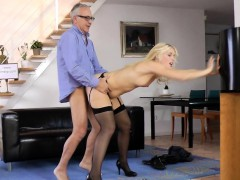 young-blonde-sucks-old-mans-cock-at-home