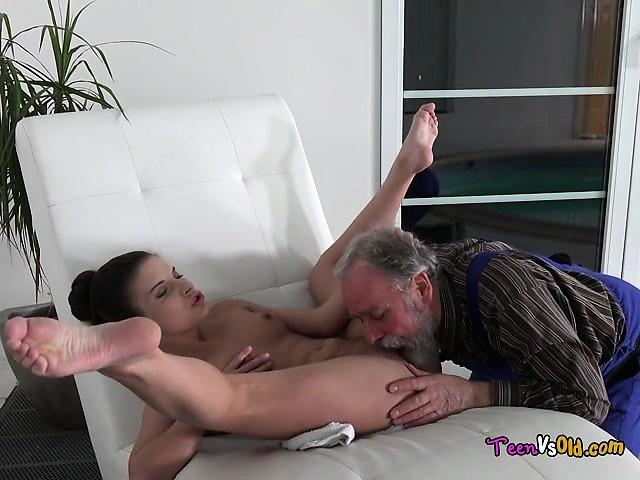 Old Man Cums Inside Teen Pussy