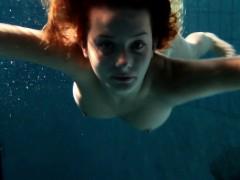 edwiga slut russian swims in clothes at night