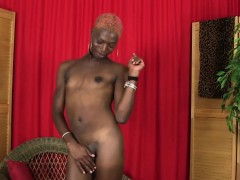 Solo Ebony Shemale Jerking Off Her Cock