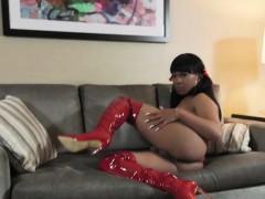 Chubby Black Tgirl In Kinky Boots Wanks Solo