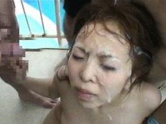 asian girl bukkaked in public! Bukkake