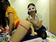 Asian Bound Lesbian Masturbation