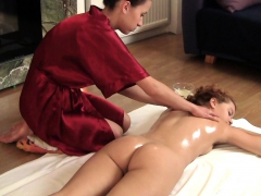zadova ginger haired woman being oil massaged