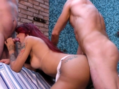 Two Guys Tag Team Tranny Redheads Mouth And Ass