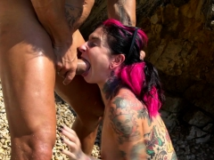 Inked Emo Gets Outdoors Buttbanged In Spoon