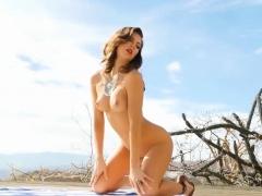 Amazing American Brunette Strips Of Her Tiny Bikini