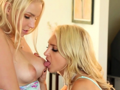 Sensual Blondes Alix And Vanessa Get Dirty In The Living