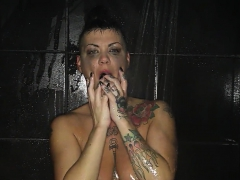 brunette milf jezebelle gets steamy in the shower