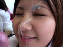 japanese woman takes a good facial